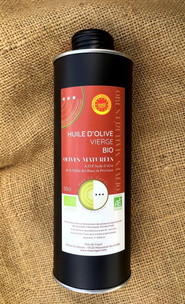 huile Biologique olives maturées AOP Vallée des Baux